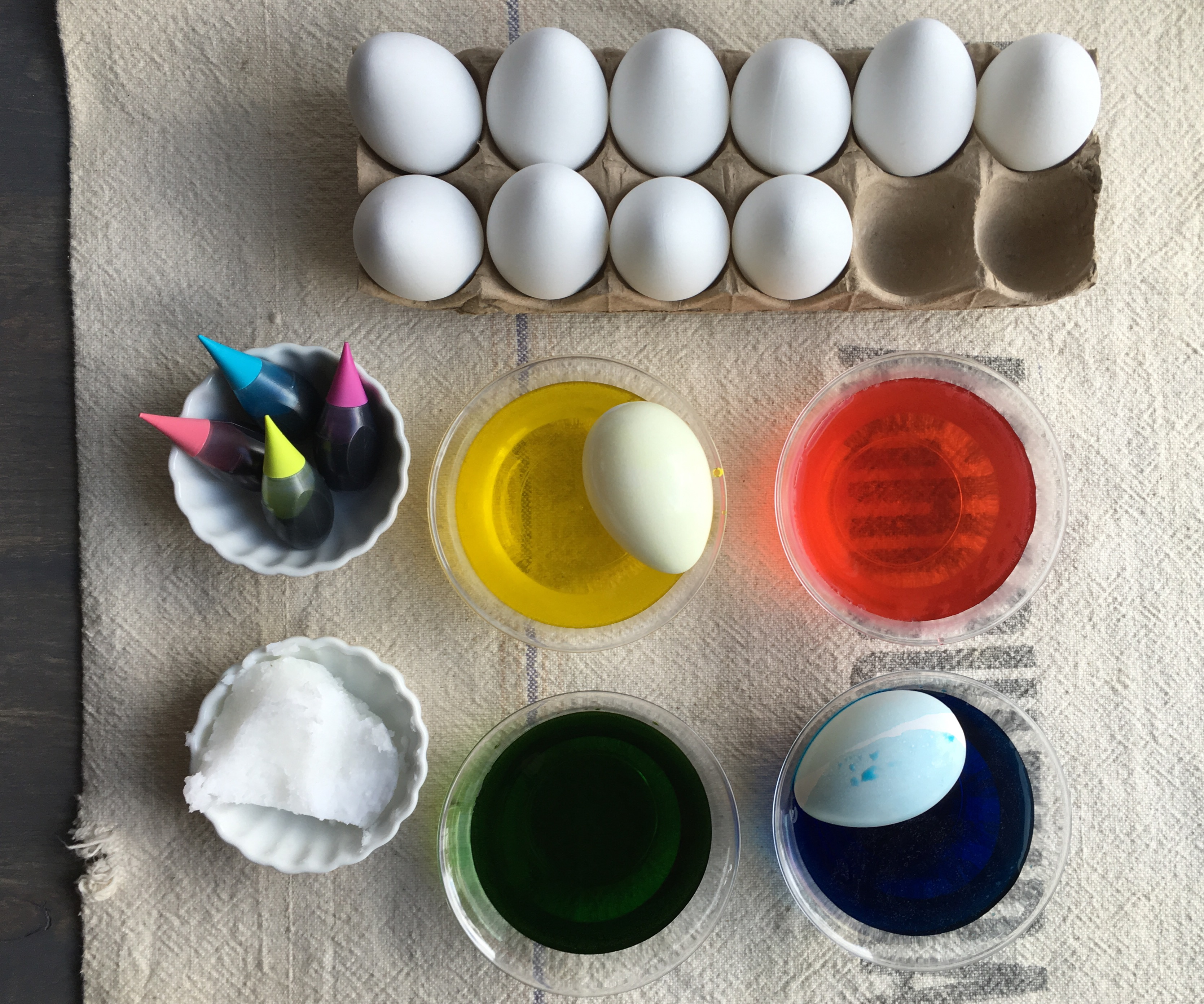 Coconut Oil Colored Eggs