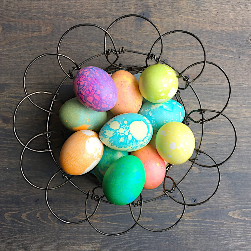 Colored eggs in basket 2