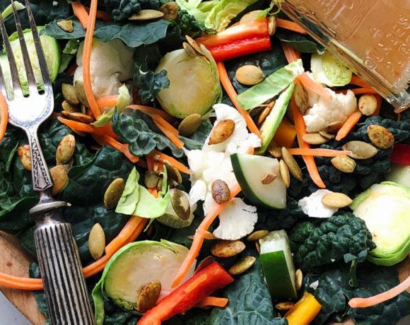 Summer Kale Salad w/Ginger Sesame Dressing