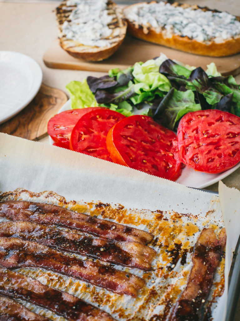 Brown sugar glazed balsamic bacon, homegrown tomato and red butter lettuce